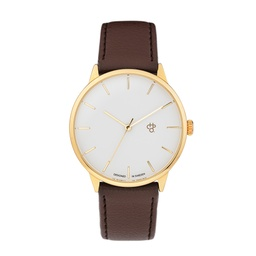 [14230KK] Khorshid Gold Gold/Dark Brown Vegan Leather Strap