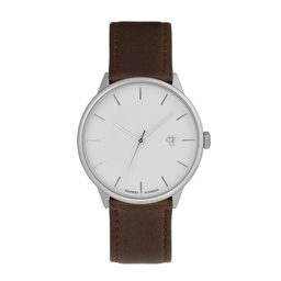 [14230OO] Khorshid Silver Silver / Brown Vegan Leather Strap