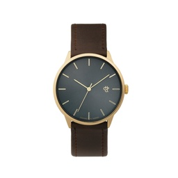 [14230PP] Khorshid Gold Metal Gold / Brown Vegan Leather Strap