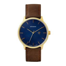 [14230TT] Khorshid Göteborg Navy Metal Blue / Brown Vegan Leather Strap