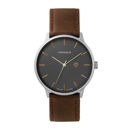 [14230WW] Khorshid Stockholm Gun Metal/ Brown Vegan Leather Strap