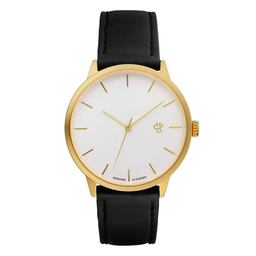 [14240CC] Khorshid Gold White/Black Vegan Leather Strap