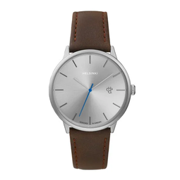 [14240EE] Khorshid Helsinki Silver/Brown Vegan Leather Strap
