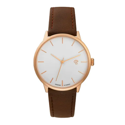 [14240GG] Khorshid Rose Gold White/Brown Vegan Leather Strap